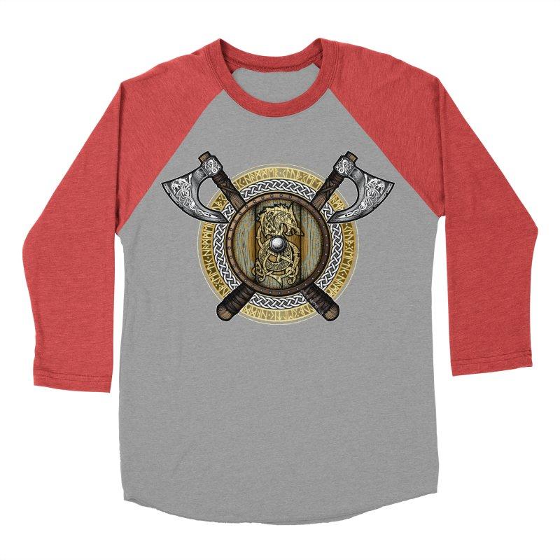 Fenrir Viking Shield (Full Color) Men's Baseball Triblend Longsleeve T-Shirt by Celtic Hammer Club Apparel