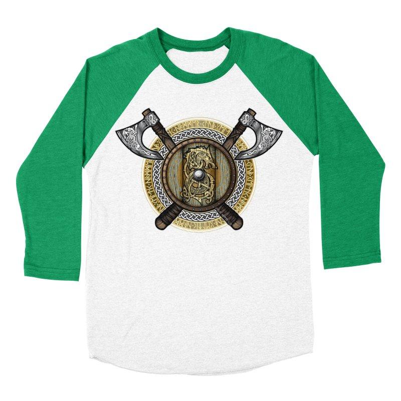 Fenrir Viking Shield (Full Color) Men's Baseball Triblend Longsleeve T-Shirt by Celtic Hammer Club