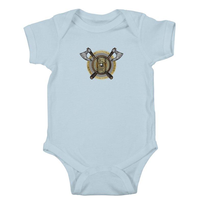 Fenrir Viking Shield (Full Color) Kids Baby Bodysuit by Celtic Hammer Club Apparel