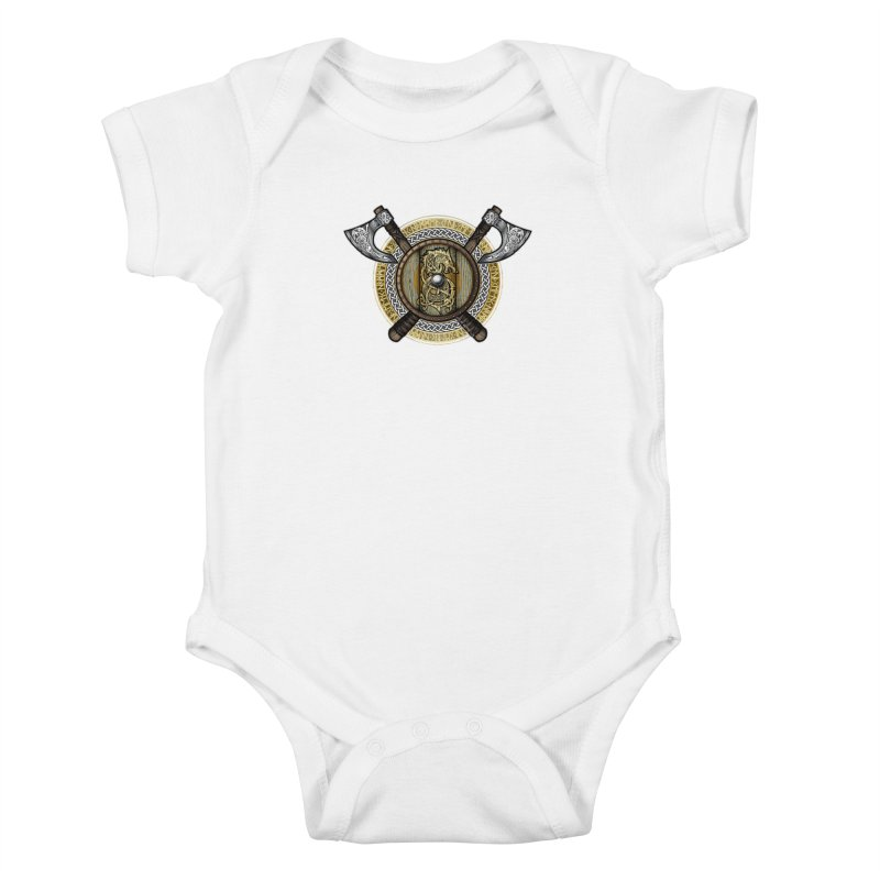 Fenrir Viking Shield (Full Color) Kids Baby Bodysuit by Celtic Hammer Club