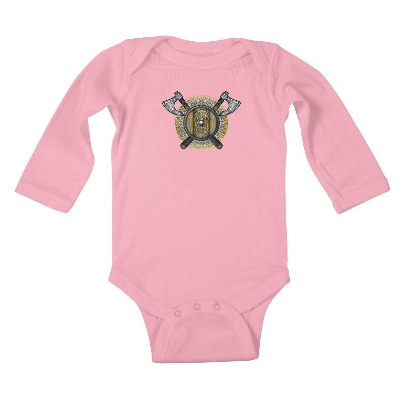 Fenrir Viking Shield (Full Color) Kids Baby Longsleeve Bodysuit by Celtic Hammer Club Apparel
