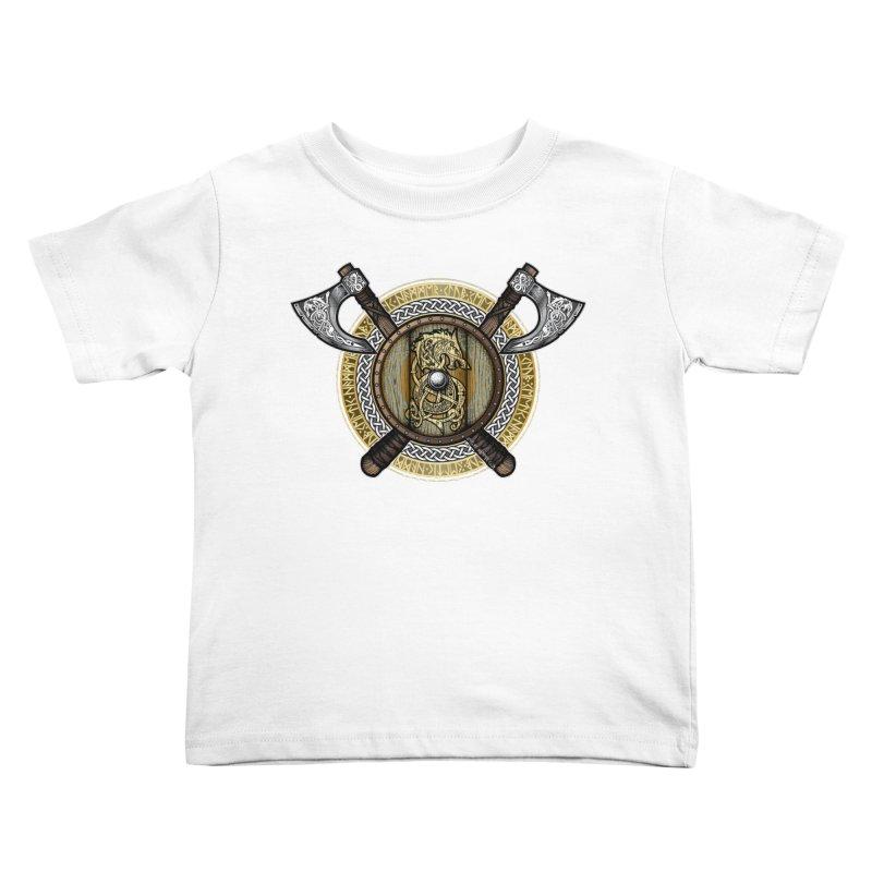Fenrir Viking Shield (Full Color) Kids Toddler T-Shirt by Celtic Hammer Club Apparel
