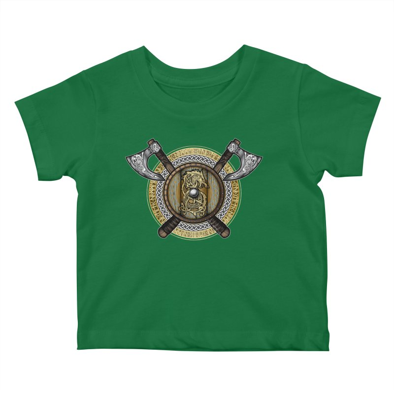 Fenrir Viking Shield (Full Color) Kids Baby T-Shirt by Celtic Hammer Club Apparel