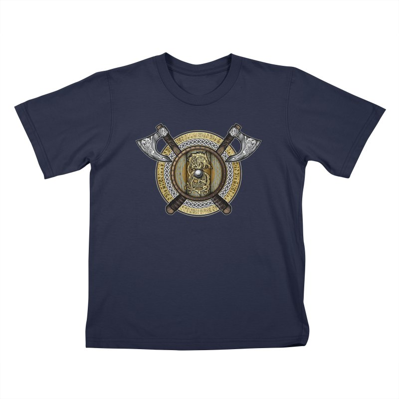 Fenrir Viking Shield (Full Color) Kids T-Shirt by Celtic Hammer Club Apparel