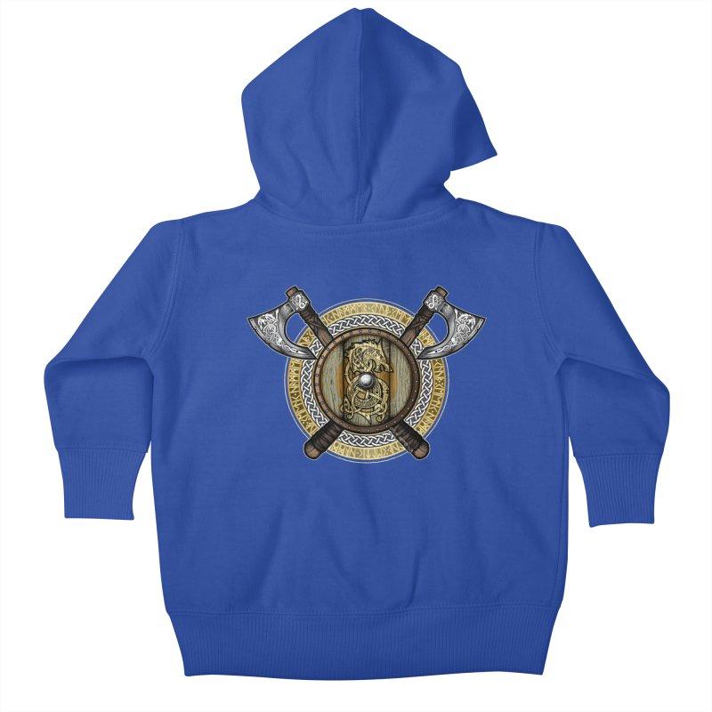 Fenrir Viking Shield (Full Color) Kids Baby Zip-Up Hoody by Celtic Hammer Club
