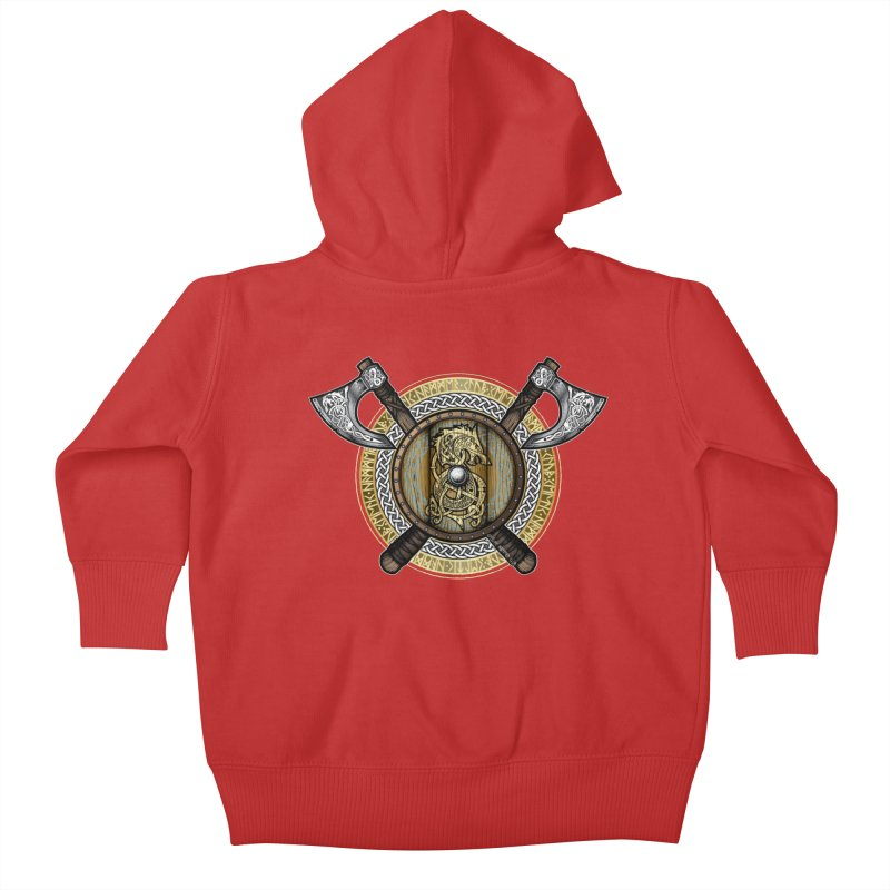 Fenrir Viking Shield (Full Color) Kids Baby Zip-Up Hoody by Celtic Hammer Club