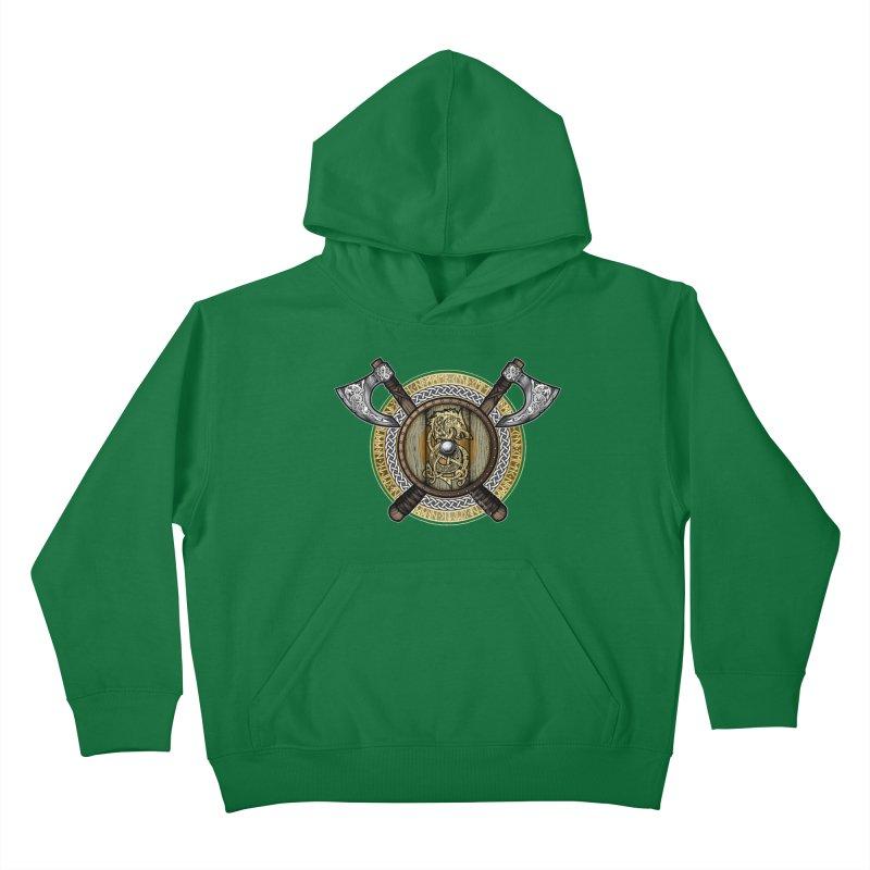 Fenrir Viking Shield (Full Color) Kids Pullover Hoody by Celtic Hammer Club Apparel