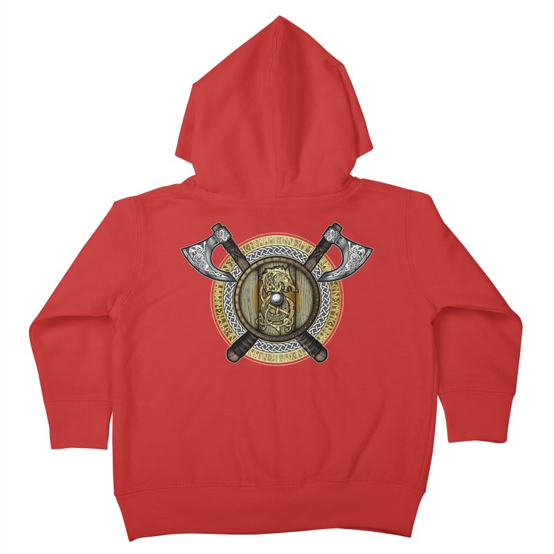Fenrir Viking Shield (Full Color) Kids Toddler Zip-Up Hoody by Celtic Hammer Club Apparel