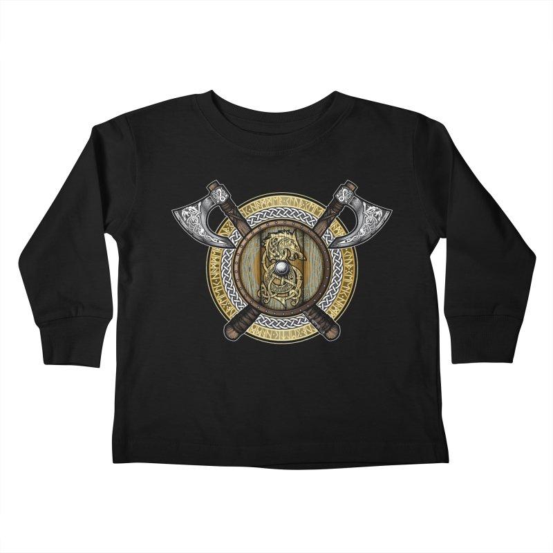Fenrir Viking Shield (Full Color) Kids Toddler Longsleeve T-Shirt by Celtic Hammer Club Apparel