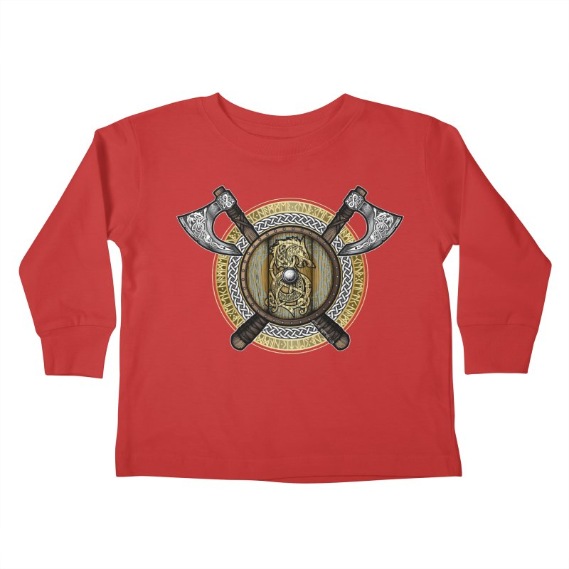 Fenrir Viking Shield (Full Color) Kids Toddler Longsleeve T-Shirt by Celtic Hammer Club Apparel