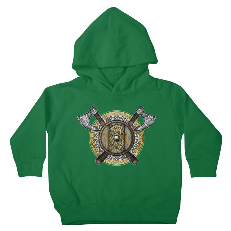Fenrir Viking Shield (Full Color) Kids Toddler Pullover Hoody by Celtic Hammer Club