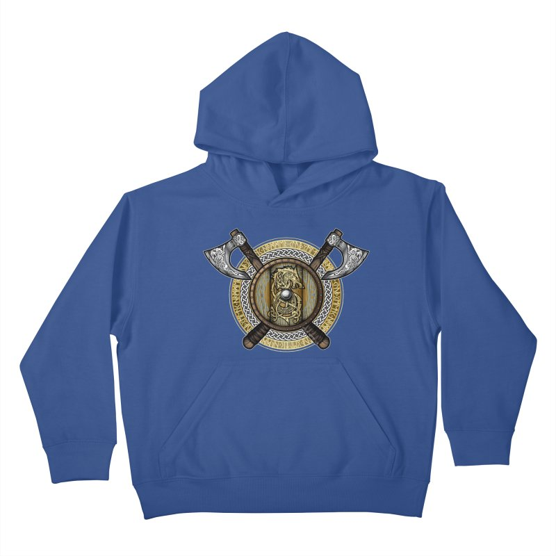 Fenrir Viking Shield (Full Color) Kids Pullover Hoody by Celtic Hammer Club