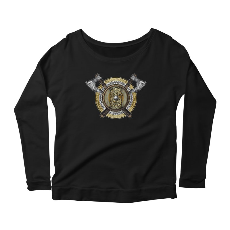 Fenrir Viking Shield (Full Color) Women's Scoop Neck Longsleeve T-Shirt by Celtic Hammer Club Apparel