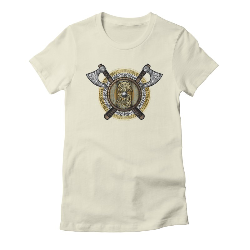 Fenrir Viking Shield (Full Color) Women's Fitted T-Shirt by Celtic Hammer Club
