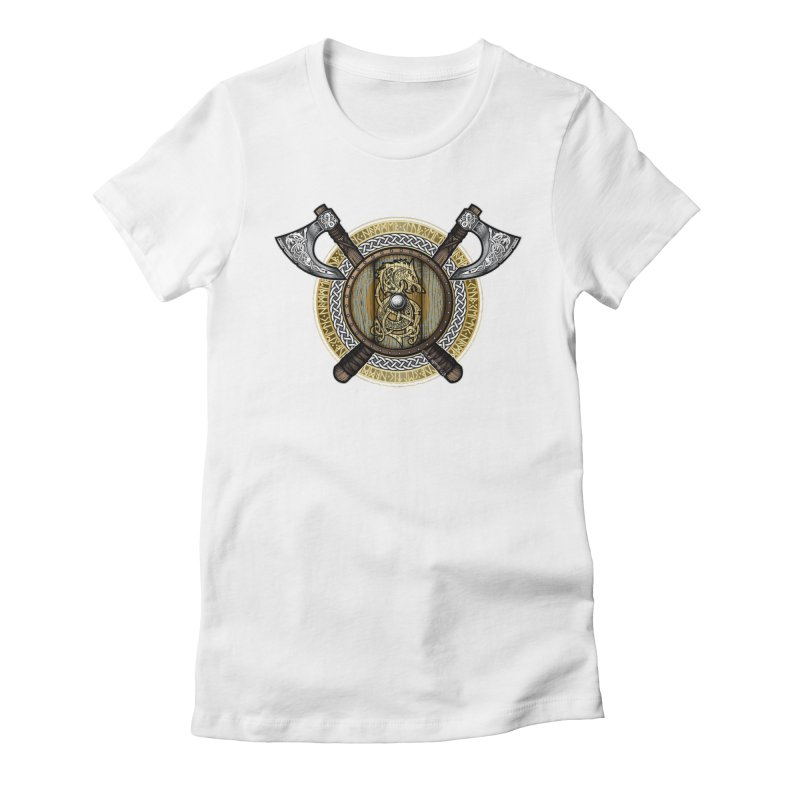 Fenrir Viking Shield (Full Color) Women's Fitted T-Shirt by Celtic Hammer Club Apparel