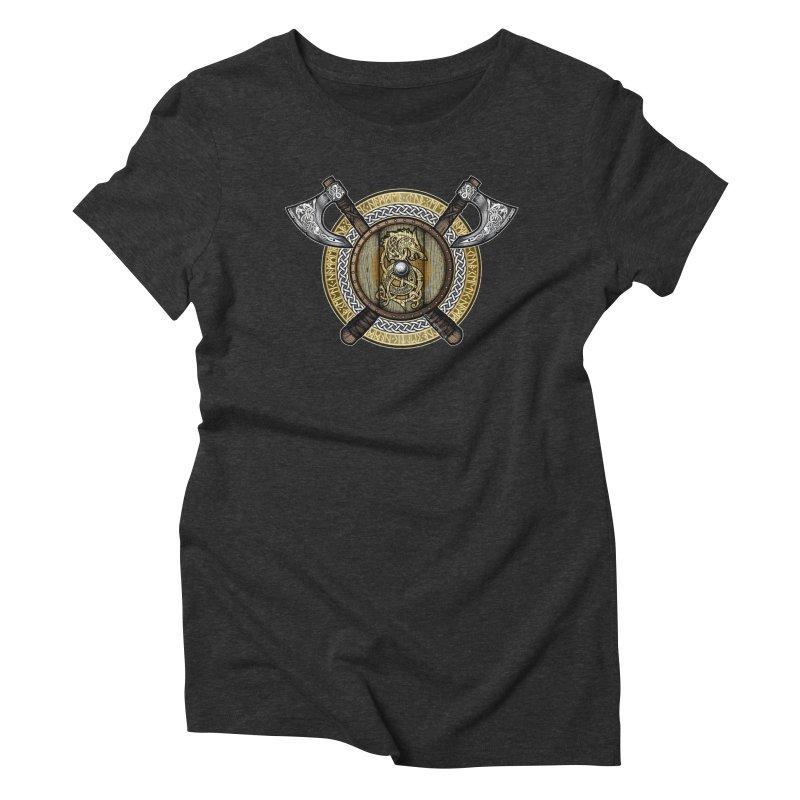Fenrir Viking Shield (Full Color) Women's Triblend T-Shirt by Celtic Hammer Club