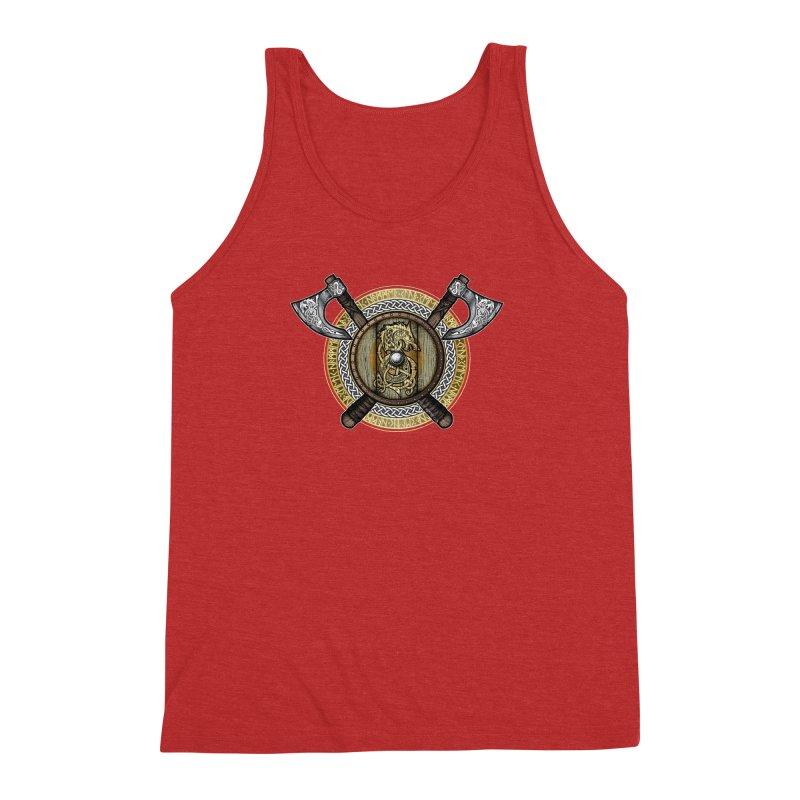 Fenrir Viking Shield (Full Color) Men's Triblend Tank by Celtic Hammer Club