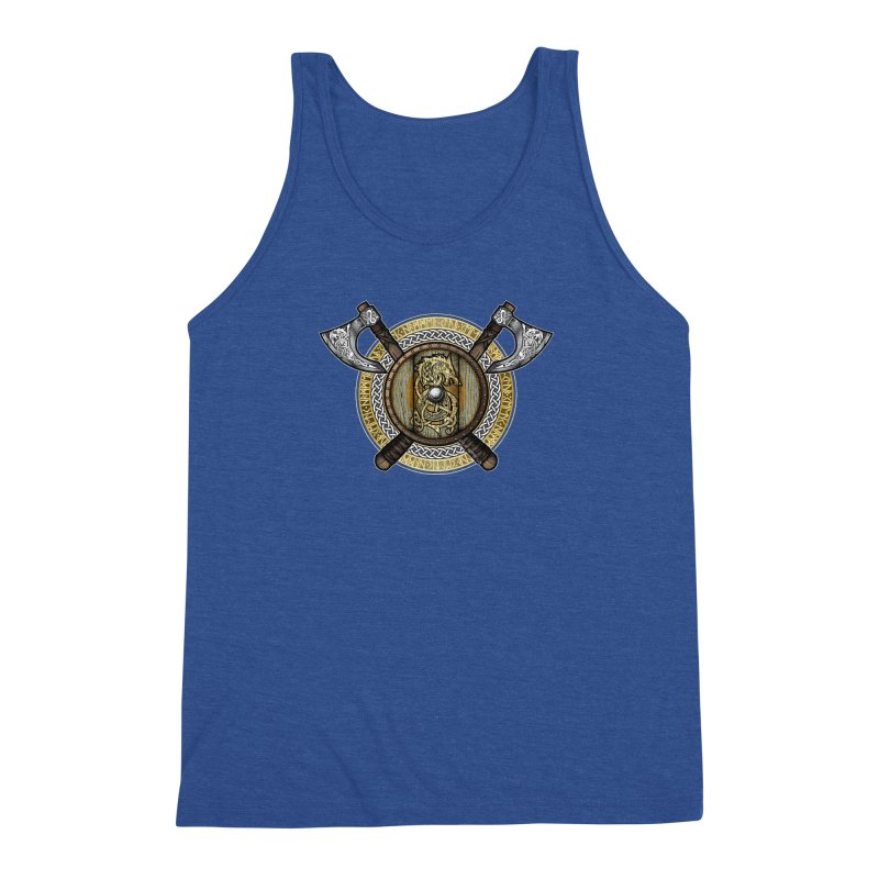 Fenrir Viking Shield (Full Color) Men's Triblend Tank by Celtic Hammer Club Apparel