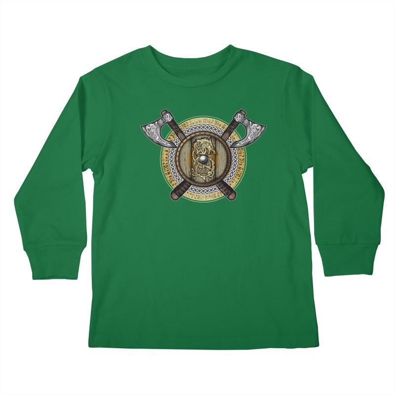Fenrir Viking Shield (Full Color) Kids Longsleeve T-Shirt by Celtic Hammer Club Apparel
