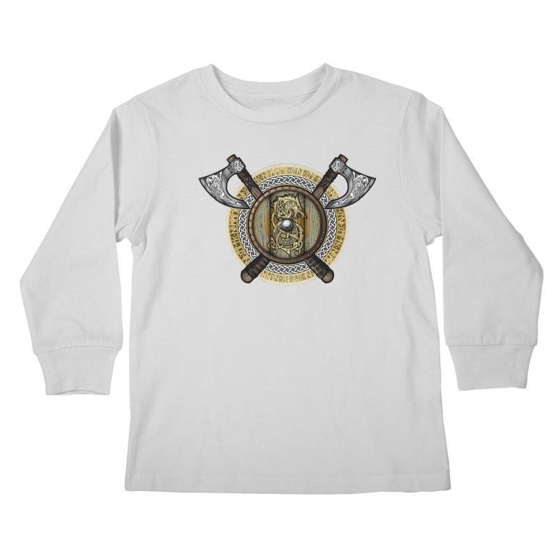 Fenrir Viking Shield (Full Color) Kids Longsleeve T-Shirt by Celtic Hammer Club