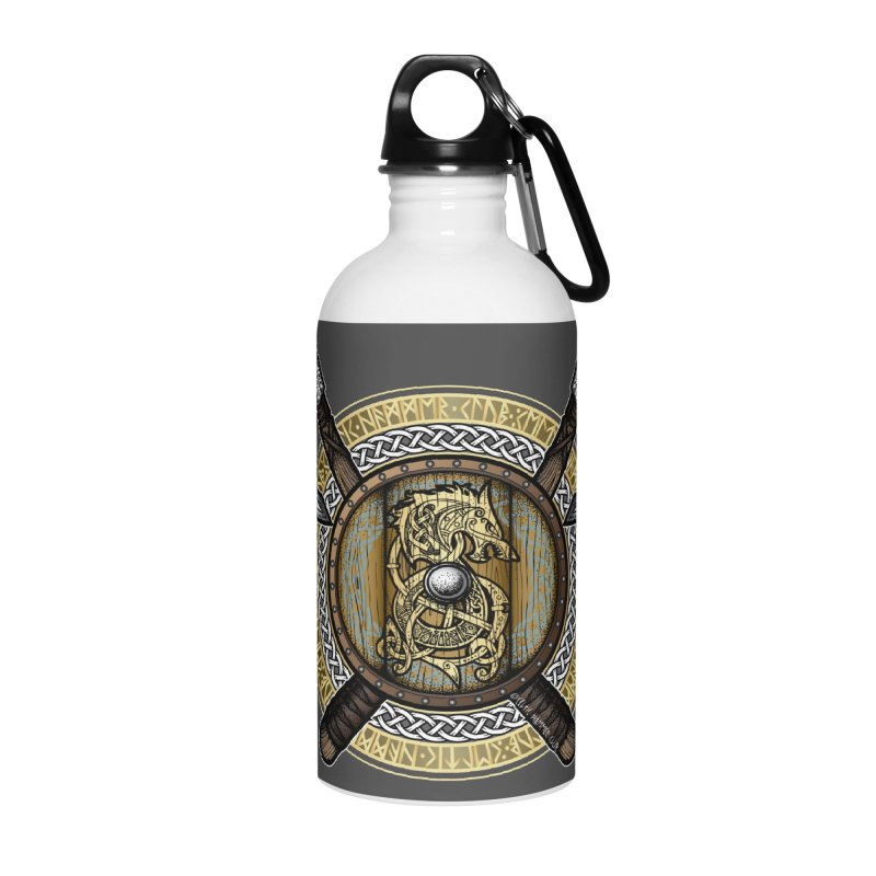 Fenrir Viking Shield (Full Color) Accessories Water Bottle by Celtic Hammer Club Apparel