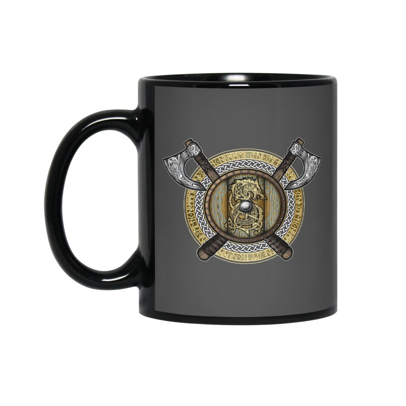 Fenrir Viking Shield (Full Color) Accessories Mug by Celtic Hammer Club