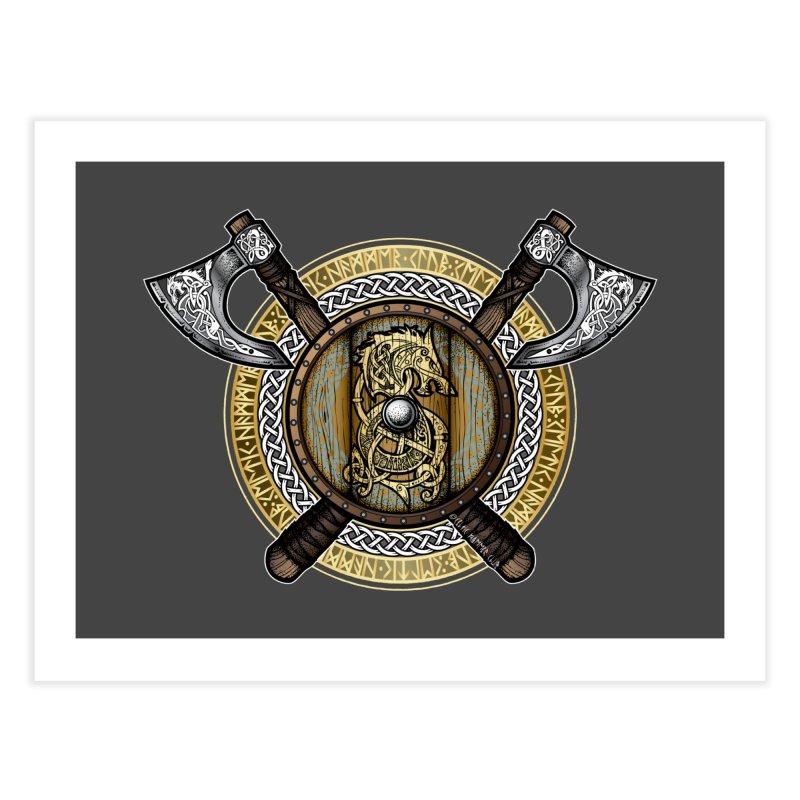 Fenrir Viking Shield (Full Color) Home Fine Art Print by Celtic Hammer Club