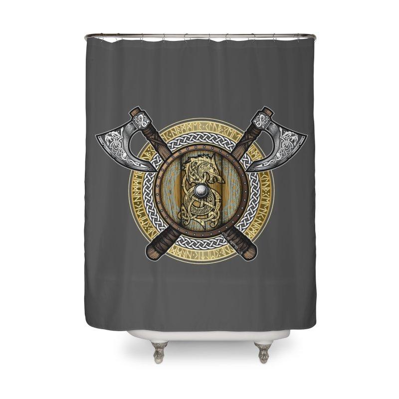 Fenrir Viking Shield (Full Color) Home Shower Curtain by Celtic Hammer Club Apparel