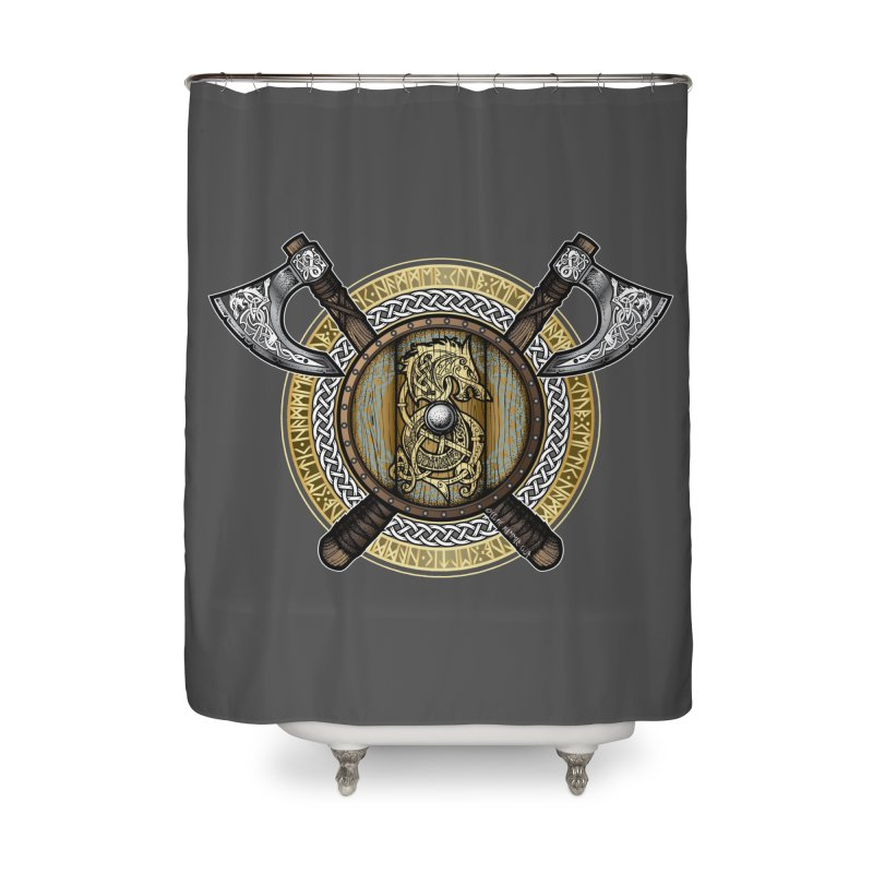 Fenrir Viking Shield (Full Color) Home Shower Curtain by Celtic Hammer Club Apparel