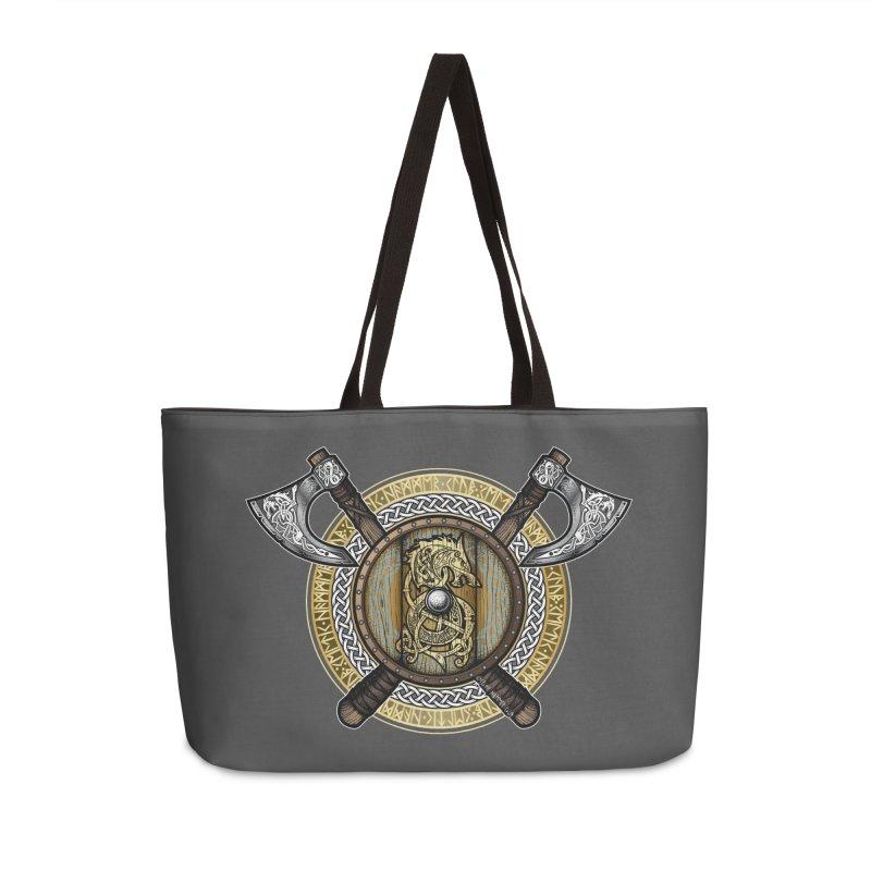 Fenrir Viking Shield (Full Color) Accessories Weekender Bag Bag by Celtic Hammer Club