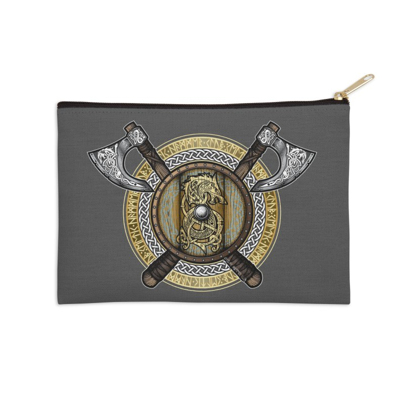 Fenrir Viking Shield (Full Color) Accessories Zip Pouch by Celtic Hammer Club