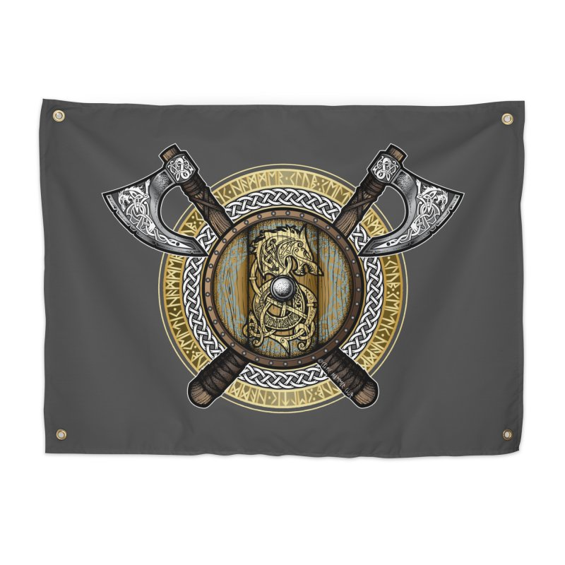 Fenrir Viking Shield (Full Color) Home Tapestry by Celtic Hammer Club Apparel