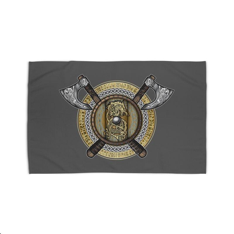 Fenrir Viking Shield (Full Color) Home Rug by Celtic Hammer Club