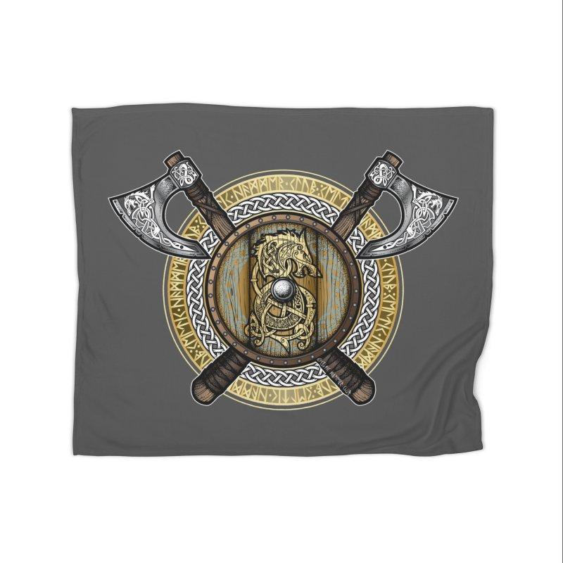 Fenrir Viking Shield (Full Color) Home Blanket by Celtic Hammer Club Apparel