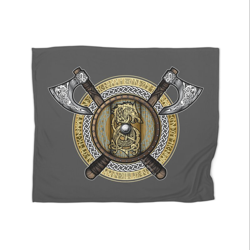 Fenrir Viking Shield (Full Color) Home Blanket by Celtic Hammer Club