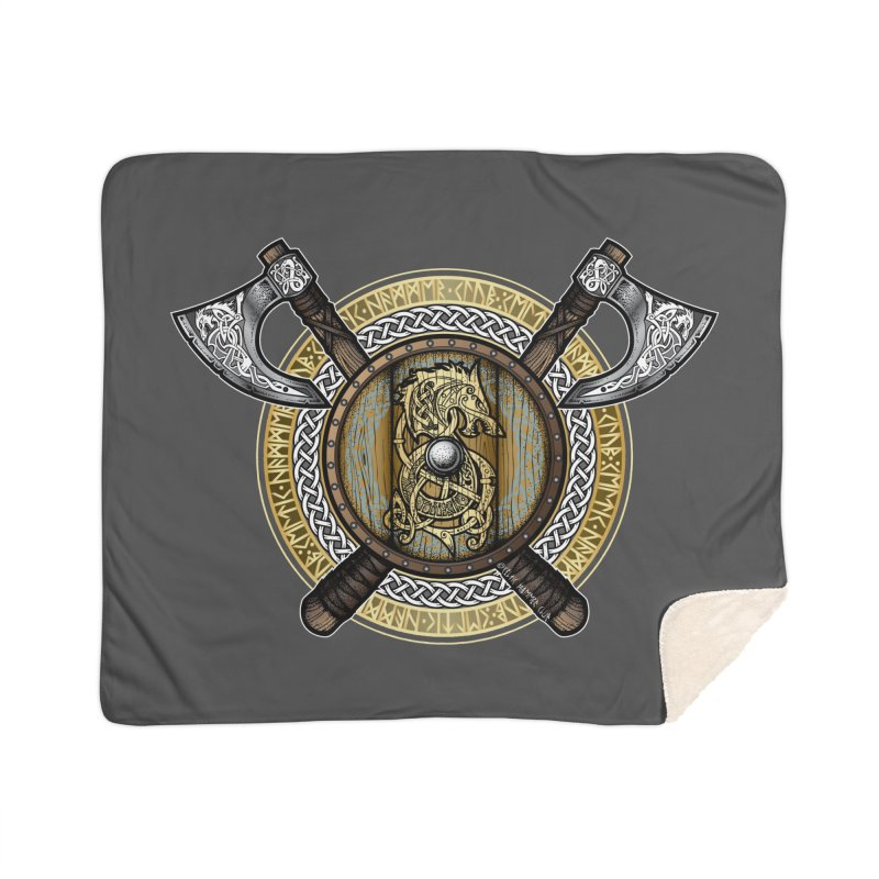 Fenrir Viking Shield (Full Color) Home Sherpa Blanket Blanket by Celtic Hammer Club