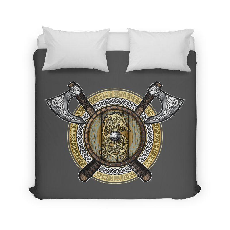 Fenrir Viking Shield (Full Color) Home Duvet by Celtic Hammer Club