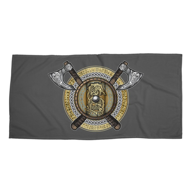 Fenrir Viking Shield (Full Color) Accessories Beach Towel by Celtic Hammer Club Apparel