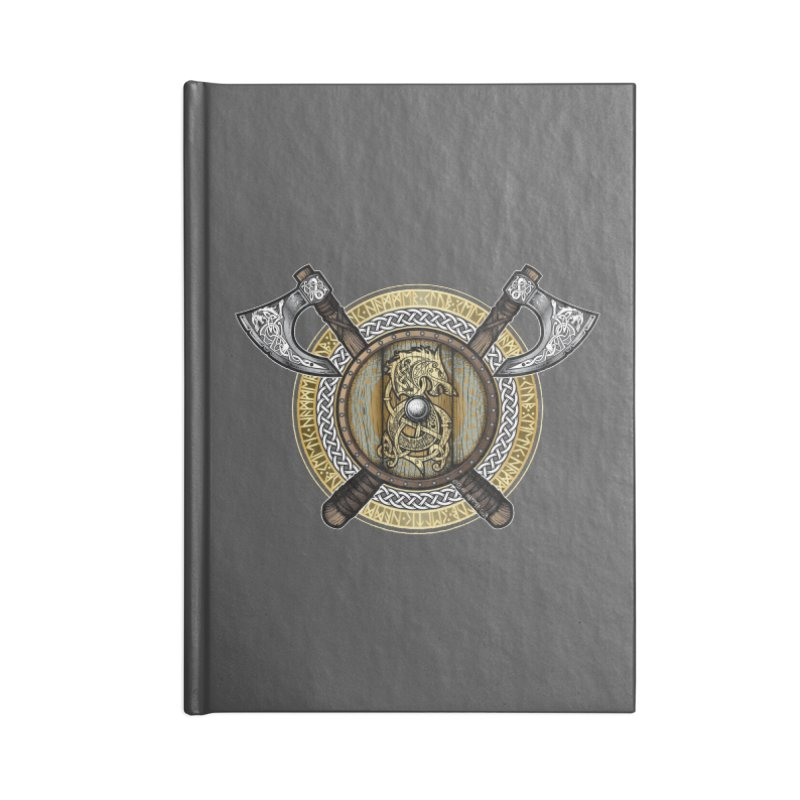 Fenrir Viking Shield (Full Color) Accessories Lined Journal Notebook by Celtic Hammer Club