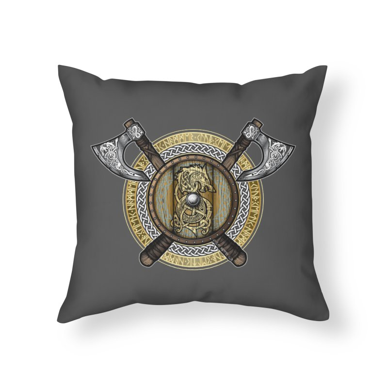 Fenrir Viking Shield (Full Color) Home Throw Pillow by Celtic Hammer Club