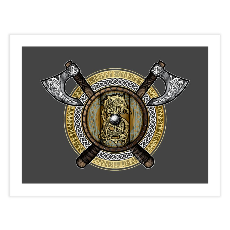 Fenrir Viking Shield (Full Color) Home Fine Art Print by Celtic Hammer Club