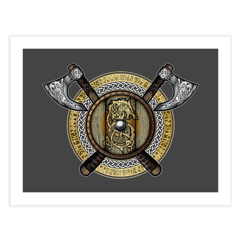 Fenrir Viking Shield (Full Color) Home Fine Art Print by Celtic Hammer Club Apparel
