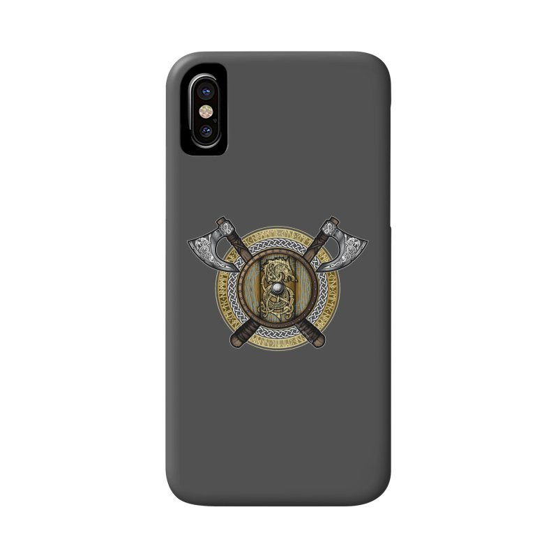 Fenrir Viking Shield (Full Color) Accessories Phone Case by Celtic Hammer Club Apparel