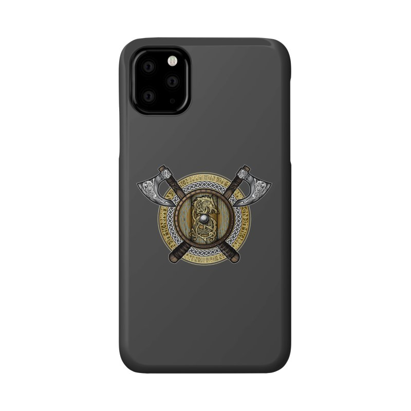 Fenrir Viking Shield (Full Color) Accessories Phone Case by Celtic Hammer Club