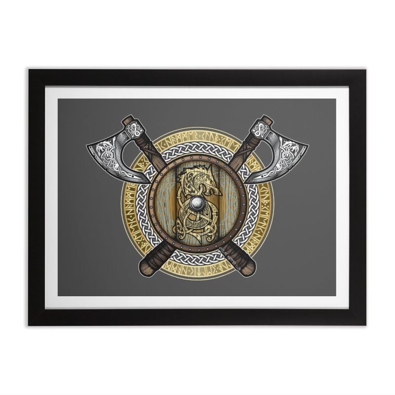 Fenrir Viking Shield (Full Color) Home Framed Fine Art Print by Celtic Hammer Club Apparel