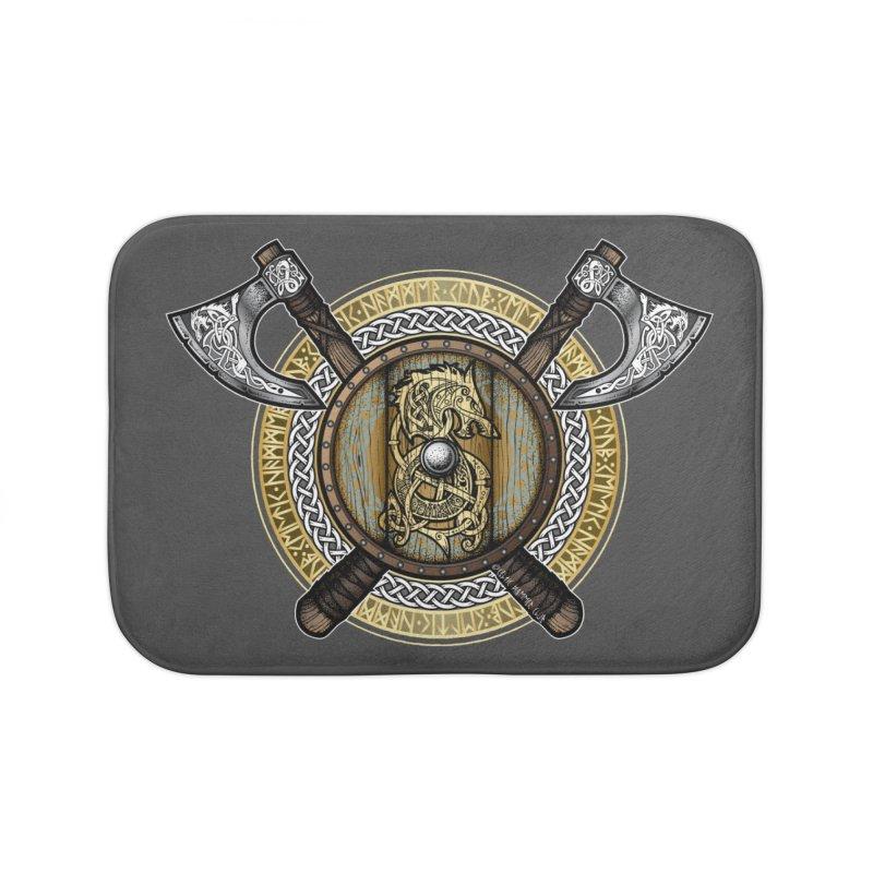 Fenrir Viking Shield (Full Color) Home Bath Mat by Celtic Hammer Club Apparel