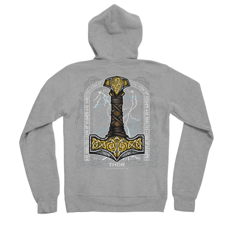 Thor Odinson, God of Thunder (Full Color) Men's Sponge Fleece Zip-Up Hoody by Celtic Hammer Club Apparel