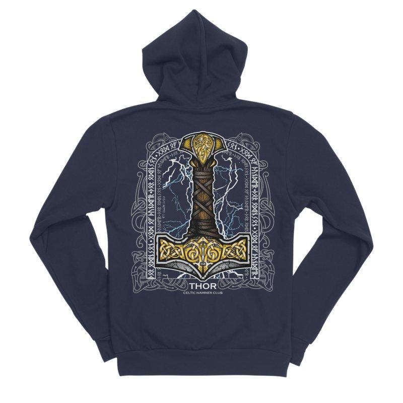 Thor Odinson, God of Thunder (Full Color) Men's Sponge Fleece Zip-Up Hoody by Celtic Hammer Club