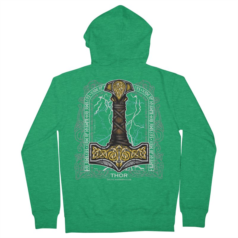 Thor Odinson, God of Thunder (Full Color) Men's French Terry Zip-Up Hoody by Celtic Hammer Club Apparel