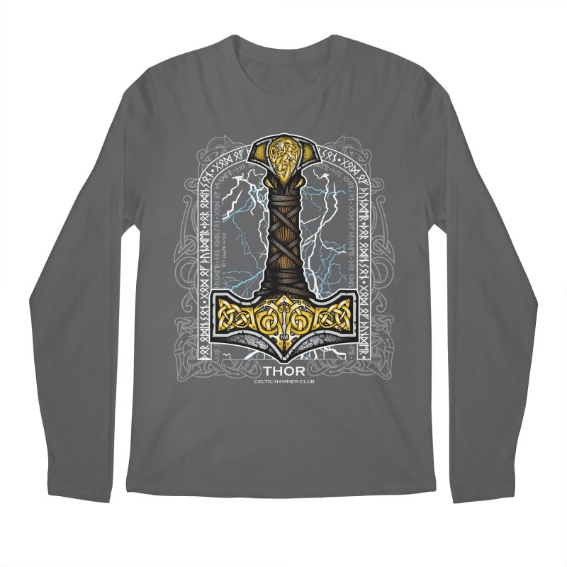 Thor Odinson, God of Thunder (Full Color) Men's Regular Longsleeve T-Shirt by Celtic Hammer Club Apparel